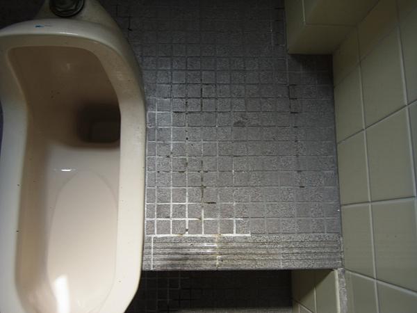 トイレのタイルに汚れが付着しています